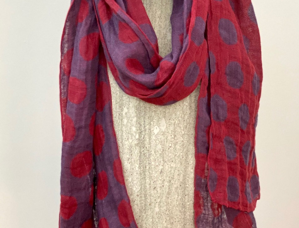Polka dot red and purple scarf