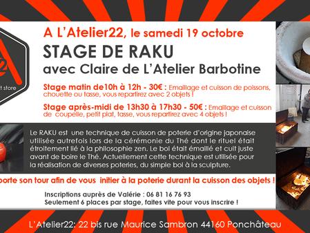 Stage de RAKU le 19 octobre à L'Atelier22