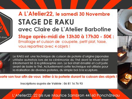 Stage de Raku le 30 Novembre à L'Atelier22