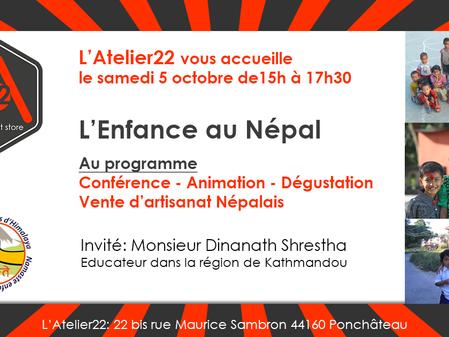 Conférence le 5 octobre ... L'Enfance au Népal !