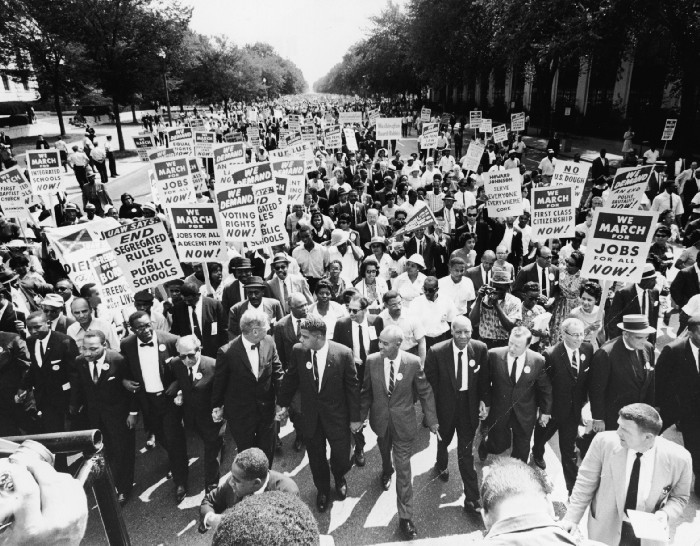 Civil Rights leaders lead the March on Washington for Jobs and Freedom on August 28, 1963 in Washington, D.C. Photo: Express Newspapers/Getty Images