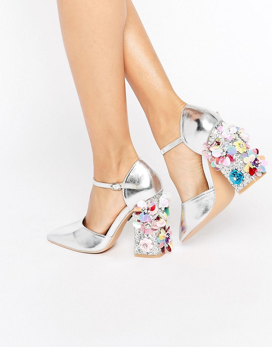 Daisy street flower detail point heel shoe