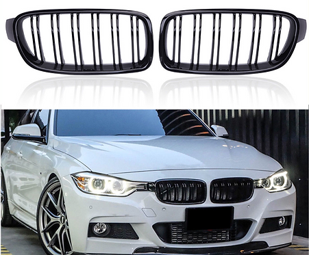 Gloss Black Front Kidney Grille Double Slat