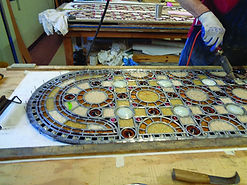 Soldering-leaded-stained-glass-window-St-Louis-Basilica