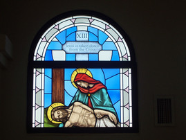 Station of the Cross XIII - Mary - stained glass