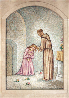 St Franics with St Clare mosaic