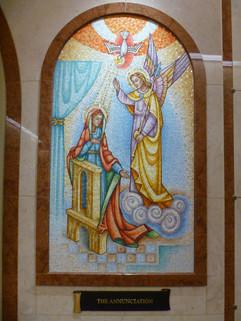 Annunciation mosaic at Queen of Heaven Mausoleum