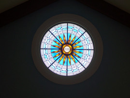 Decorative round window - silver stained