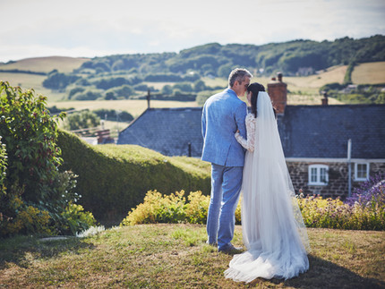 Countryside wedding in Dorset with bride and groom