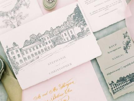 Beautiful caligraphy wedding stationery