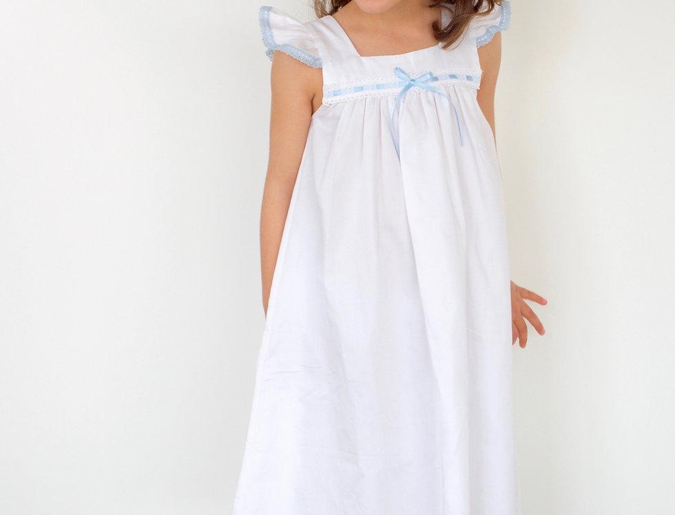 Camisón blanco con azul