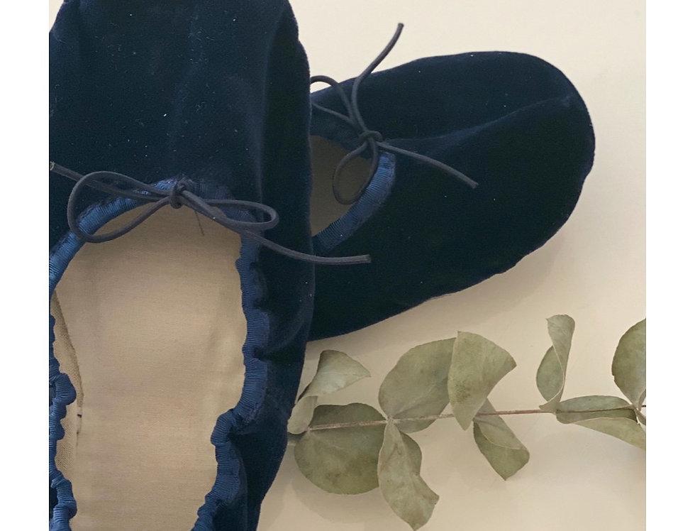 Zapatillas terciopelo azules
