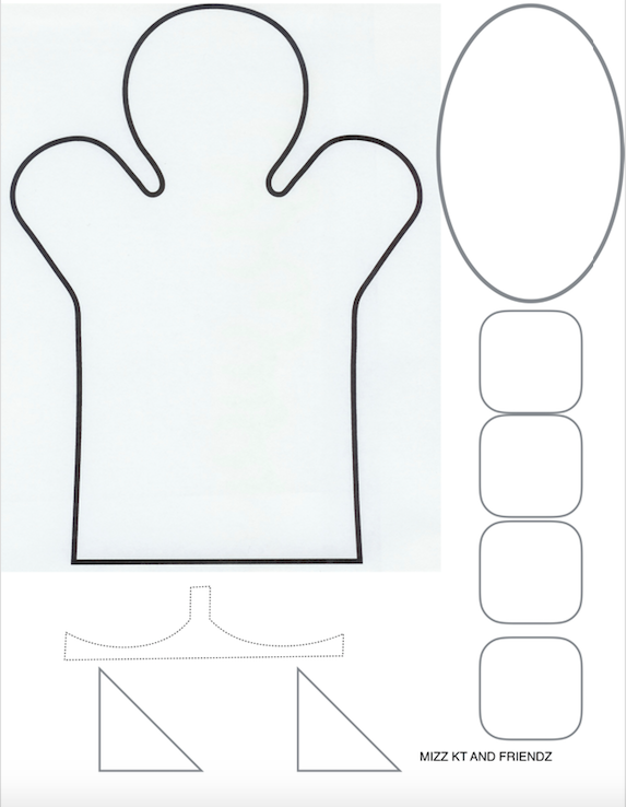 Stencil for Danny the Cat Glove Puppet