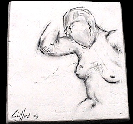 """Female Study"", Ceramic Tile Series"