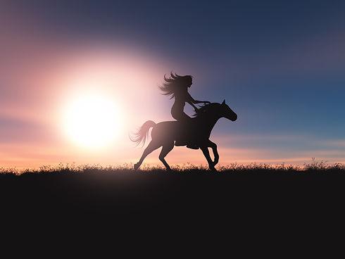 3d-female-riding-her-horse-sunset-landsc