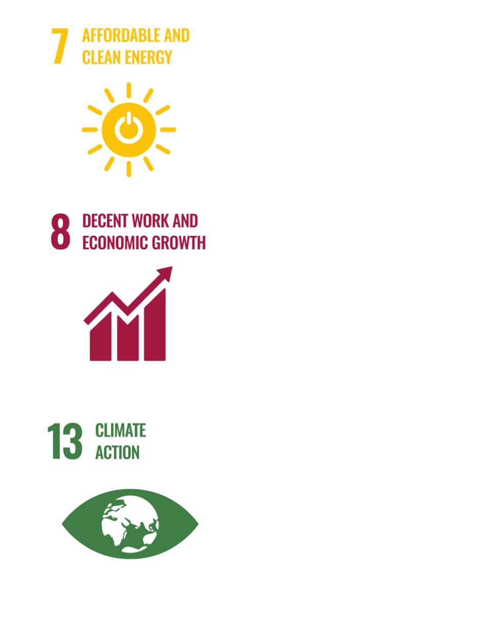 UN SDGs 7, 8 and 13.