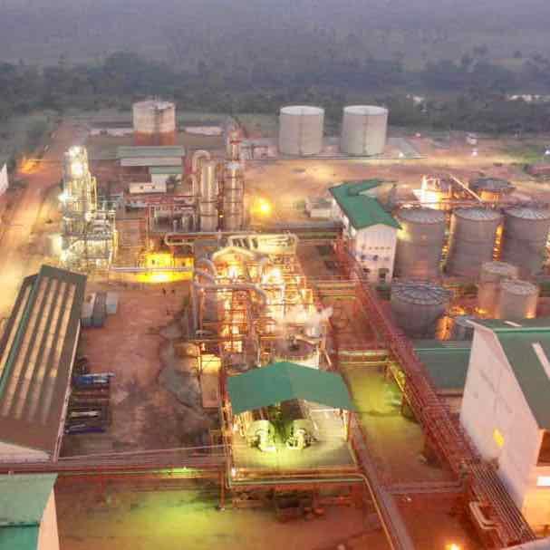 Sunbird Bioenergy Sierra Leone Biorefinery at Night