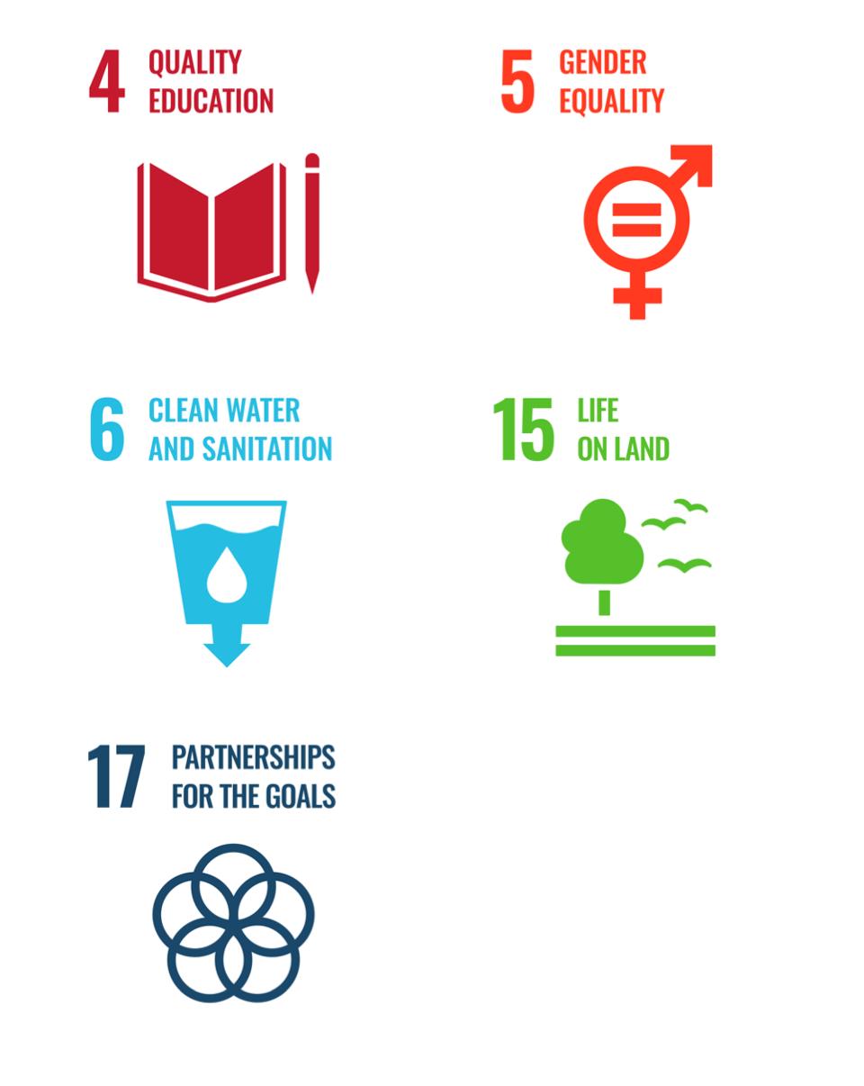 UN SDGs 5, 5, 6, 15 and 17.