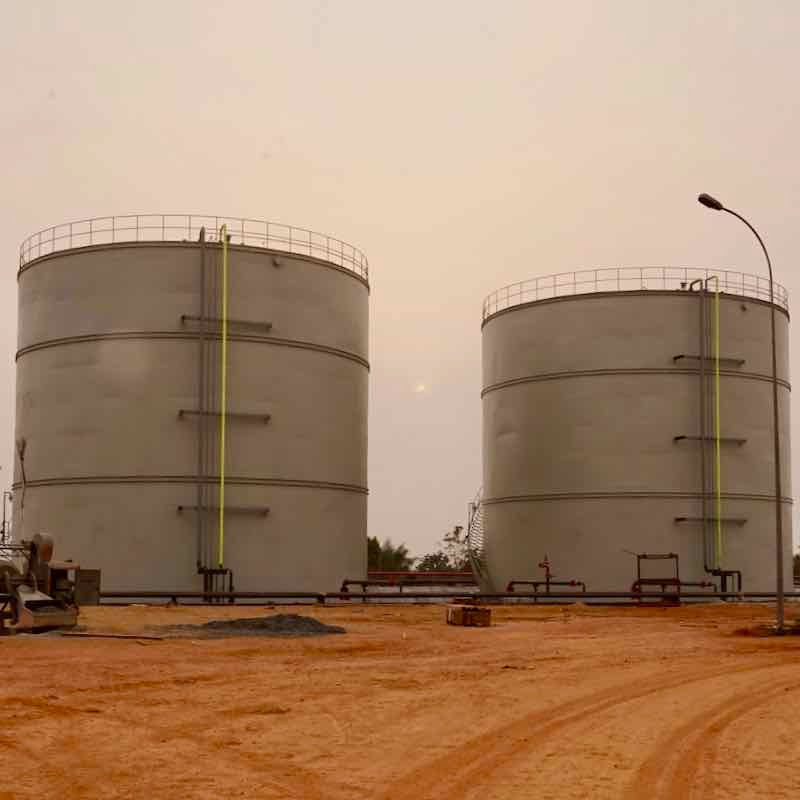 Sunbird Bioenergy Sierra Leone bioethanol and extra neutral alcohol (ENA) bulk storage tanks
