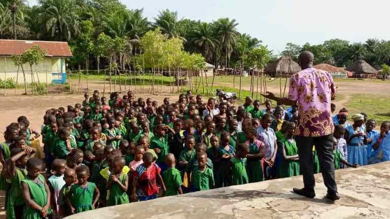 Village school children at Sunbird Bioenergy sponsored school in Sierra Leone