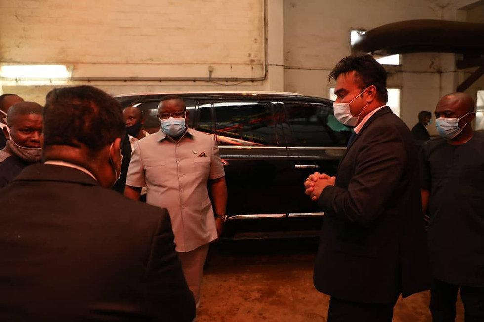 His Excellency Julius Maada Bio, President of Sierra Leone, inspects Sunbird Bioenergy's renewable energy project that is located in the...