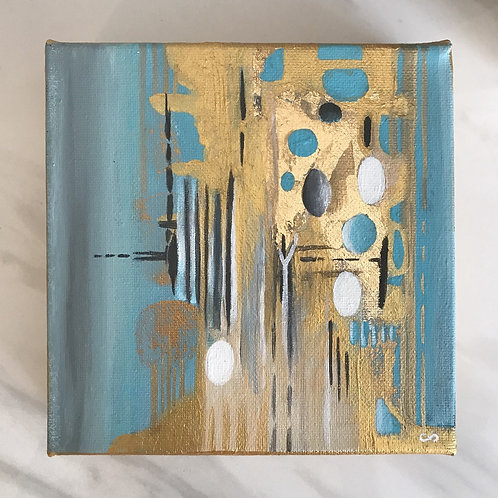 Abstract Study with Gold Leaf, 6x6