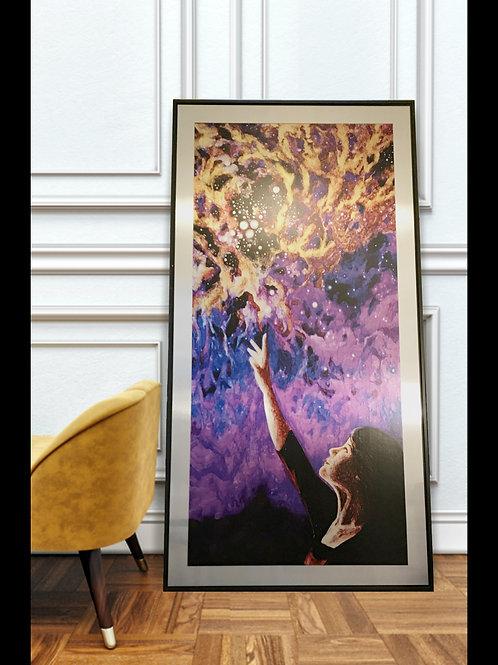 """Reaching"" Oversized Gallery Framed Aluminum Print, 28x52"