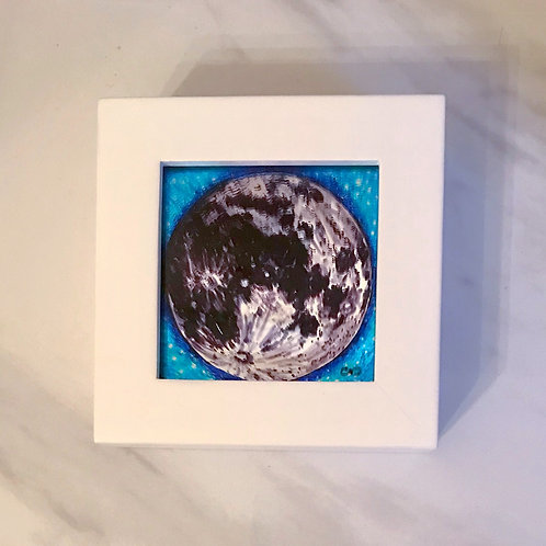 Original Miniature Moon Mirror, Framed, 4x4