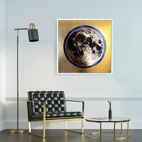 """Reflecting Greater Light"" Original Gold Leaf Moon Mirror, 36x36"