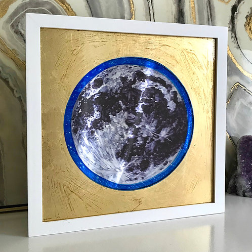 """Reflecting Greater Light"" Gold Leaf Moon Mirror"