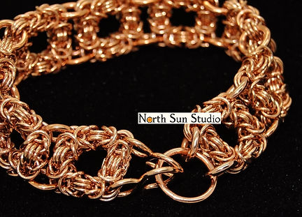 Bronze bracelet, byzantine chainmaille squares. Double clasp.