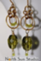 Naturally oxidized brass wire-wrap earrings.