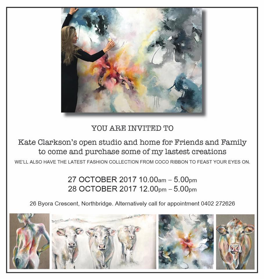 Really excited about opening my home to friends and family to view all the work I have been hoarding over the last few years. I have over 50 paintings up for grabs... need to empty the studio (garage) before the end of the year so come down and pick up something to brighten up your place! See you there, Love Kate.