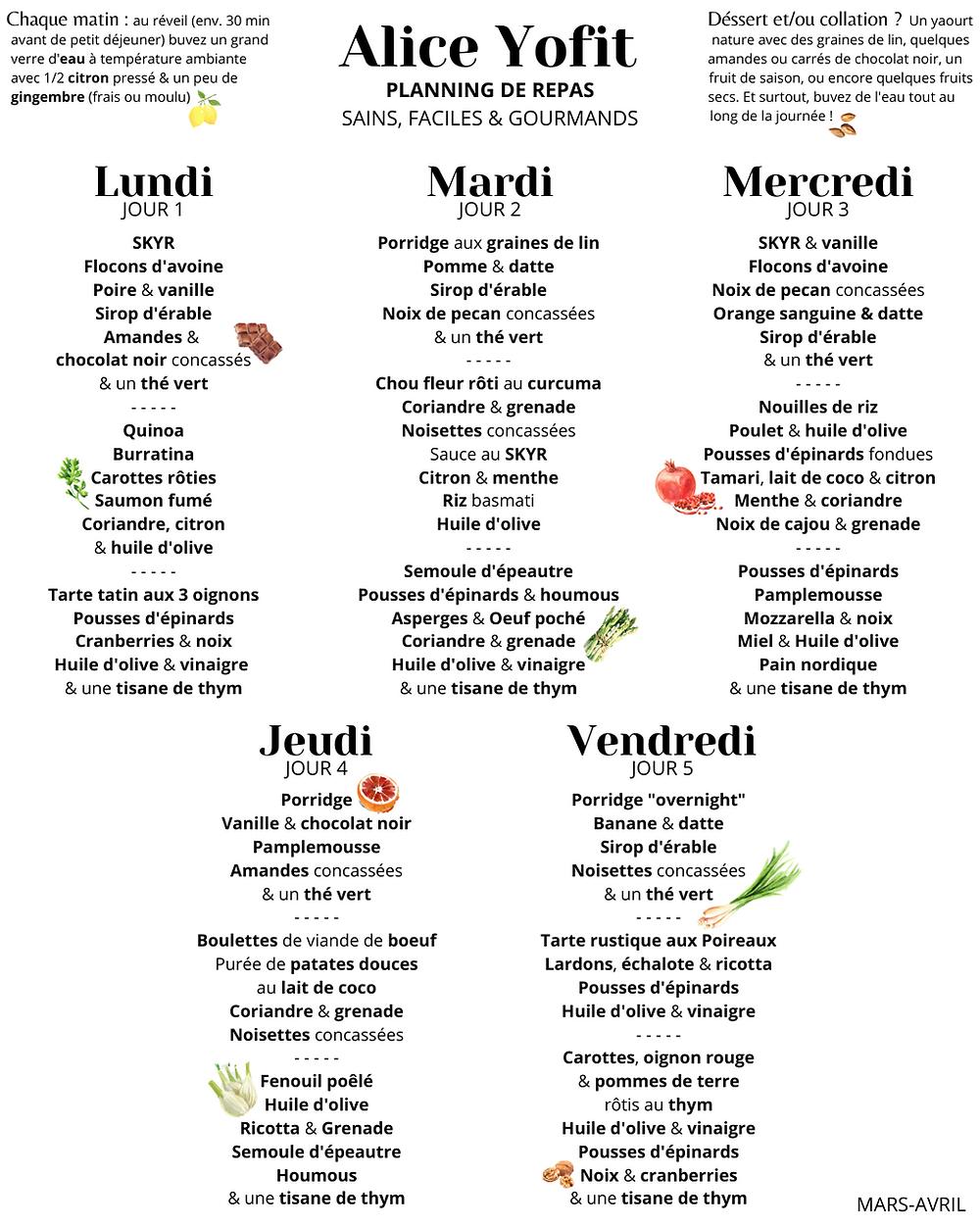 PLANNING FOOD : 5 jours de repas sains, faciles & gourmands !