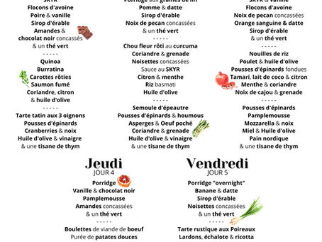 PLANNING FOOD : 5 jours de repas sains, faciles & gourmands !