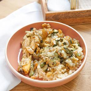 Mon poulet rôti aux figues, courgettes, noix & thym
