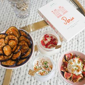 Trois idées recettes pour l'apéro : chips d'aubergine, sauces au yaourt grec & burrata à la figue