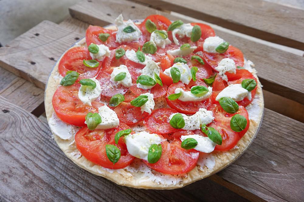 Tarte ultra rapide : St Moret, tomates & mozza