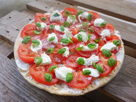 La tarte fraîche Guilou : St Moret, tomates & mozza