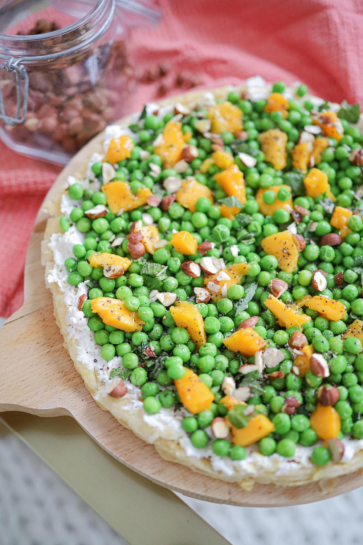 Ma tarte fraîche petits pois, mangue & ricotta
