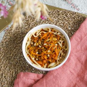 Mes pâtes de maïs & tagliatelles de carotte aux pignons de pin