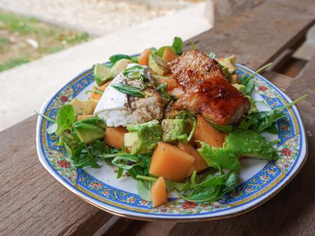 Ma salade de poulet mariné, melon, avocat & burrata