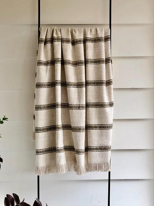 Belgian Linen Striped Throw- Dalton in Olive