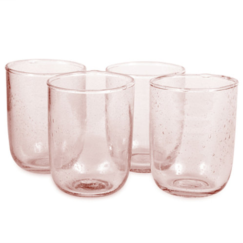 Pale Rose Seeded Glass 8oz- Set of 4