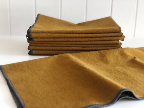 Adelene Simple Cloth Sturdy Girl Stonewashed Napkins- Ochre