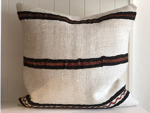 Vintage Hemp Pillow, Chocolate with Rust Stripe