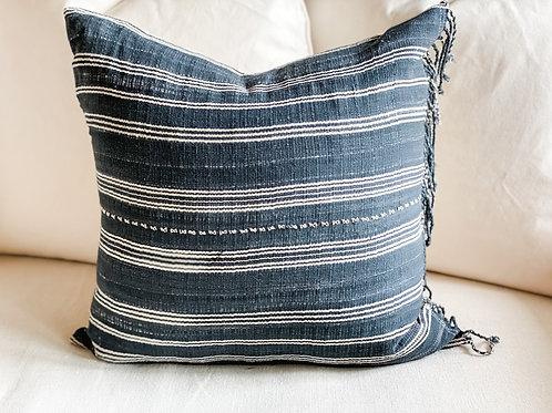 Hemp Striped Hand Woven Indigo Pillow w tassel & insert