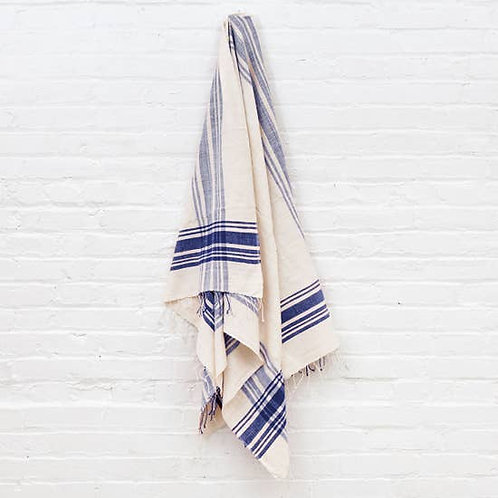 Cabin Hatch Bath Towel- Natural with Navy