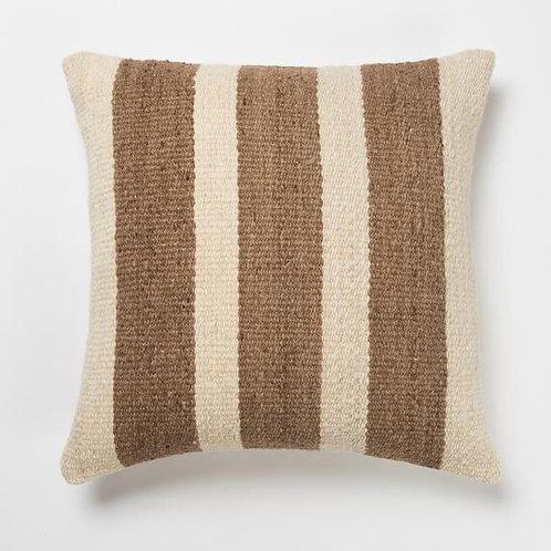 Joya Handwoven Wool Pillow- Cocoa and Cream