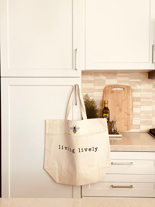 THE  LIVINGLIVELY BUMBLE BEE TOTE